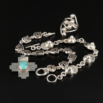 Assorted Sterling Jewelry Featuring a Southwestern Style Turquoise Cross Brooch
