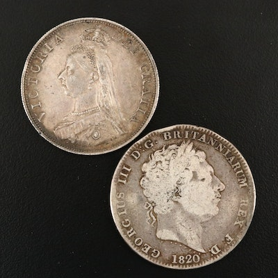 1820 and 1887 Silver Crown Coins from Great Britain