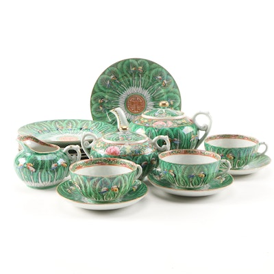 Chinese Hand-Painted Porcelain Tea Set with Bok Choy, Dragonflies & Shou Symbol