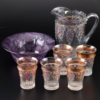 "Northwood ""Grape and Cable"" Pitcher and Tumblers With Fruit Motif Bowl"