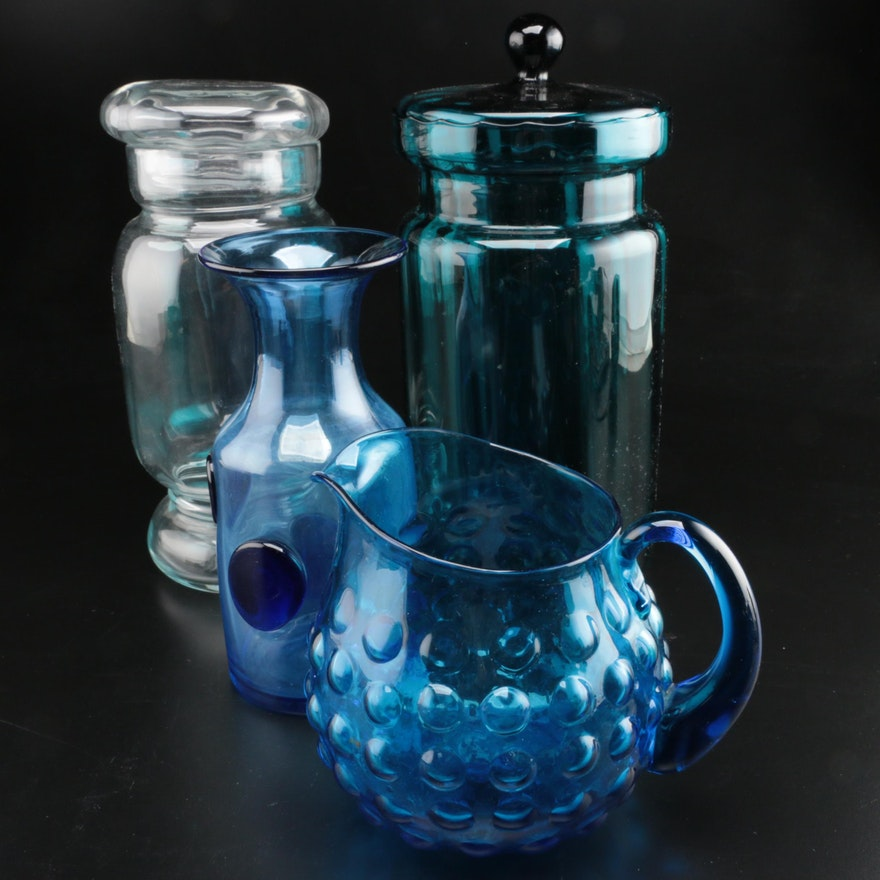 Blenko Bullseye Carafe, Bubble Pitcher and Other Lidded Glass Canister