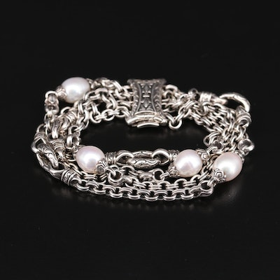 Scott Kay Sterling Silver Cultured Pearl Chain Bracelet