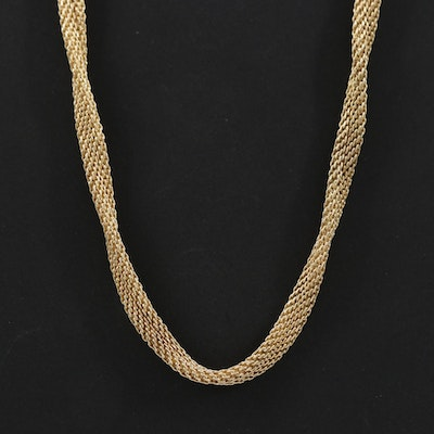 14K Yellow Gold Twisted Mesh Necklace