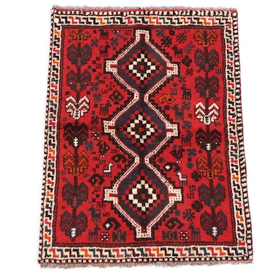 3'6 x 4'8 Hand-Knotted Persian Shiraz Wool Rug