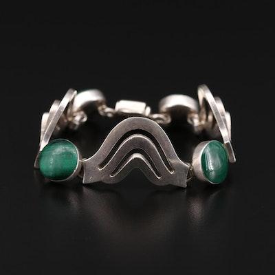 950 Silver Malachite Link Bracelet