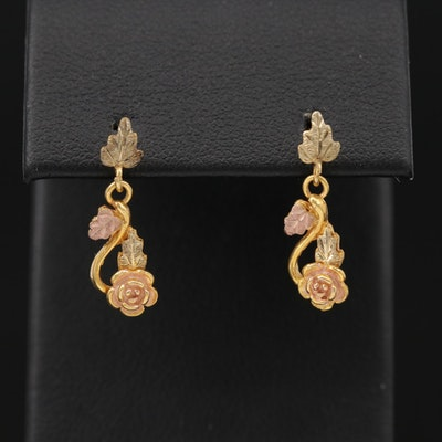 Black Hills Gold 10K Gold Floral Earrings