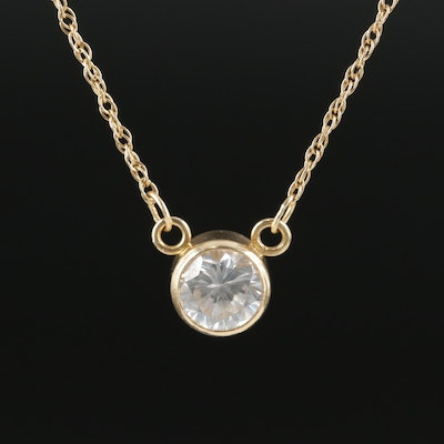 14K Yellow Gold Cubic Zirconia Solitaire Necklace
