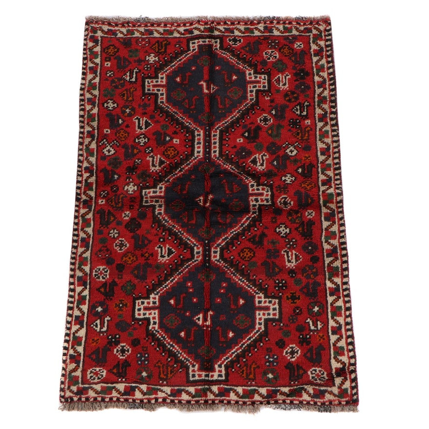3'2 x 5'0 Hand-Knotted Persian Shiraz Wool Rug