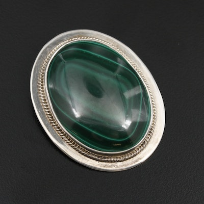 Mexican Sterling Silver Malachite Converter Brooch