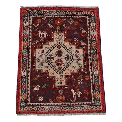 3'4 x 4'7 Hand-Knotted Persian Pictorial Wool Rug