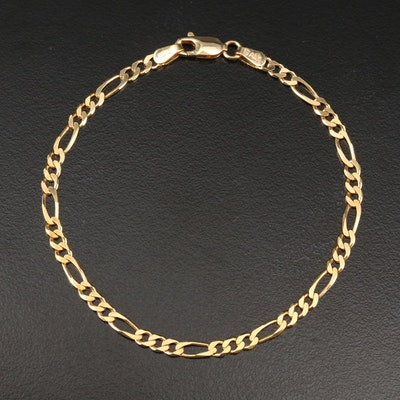 14K Yellow Gold Figaro Link Chain Bracelet