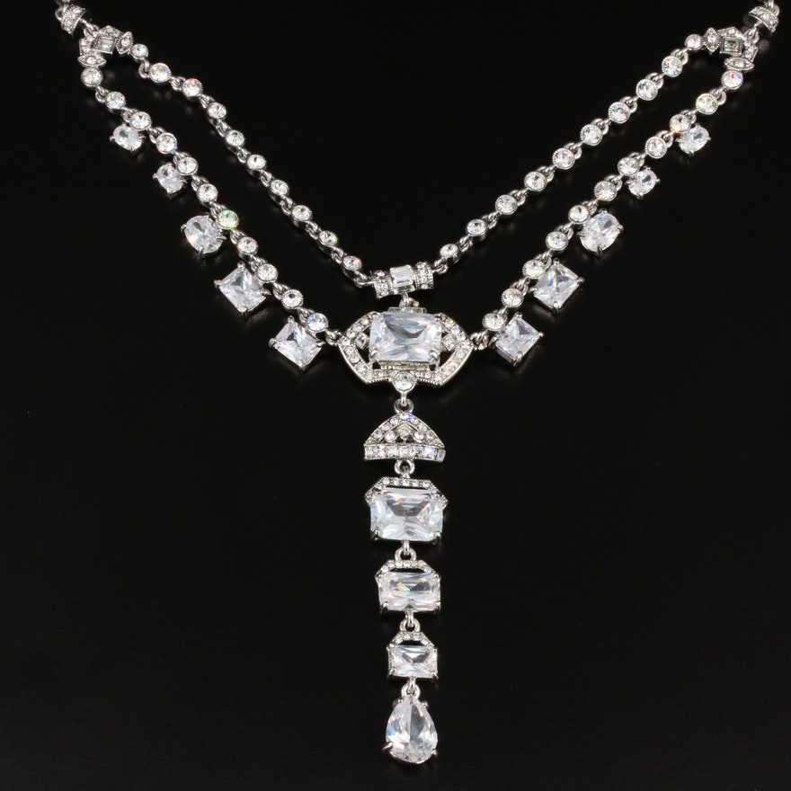 Carolee Lux Cubic Zirconia and Crystal Necklace
