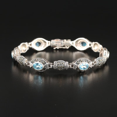 Sterling Silver Topaz and Marcasite Bracelet