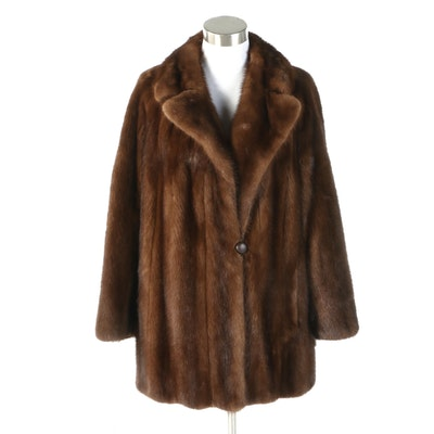 Mahogany Mink Fur Coat with Notched Collar from Rhomberg's, Vintage