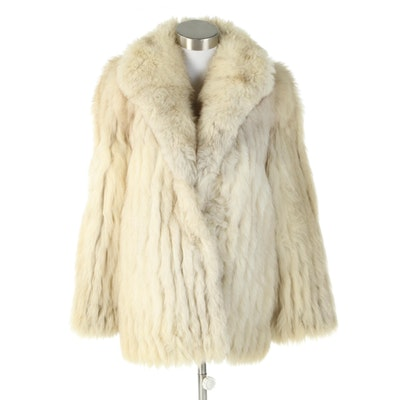 Corded Fox Fur Coat with Shawl Collar