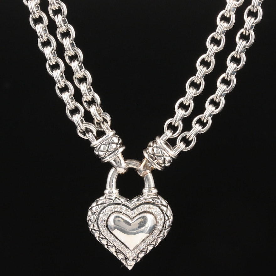 Scott Kay Sterling Silver Diamond Heart Pendant Necklace Featuring Rolo Chain
