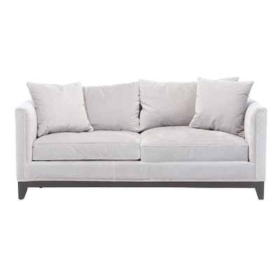 Z Gallerie Light Blue-Gray Velour Upholstered Sofa