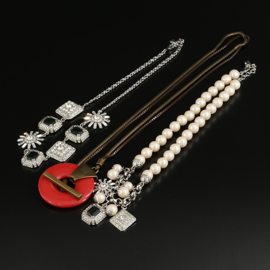 Assorted Necklaces with Resin, Glass and Imitation Pearl Featuring Carolee