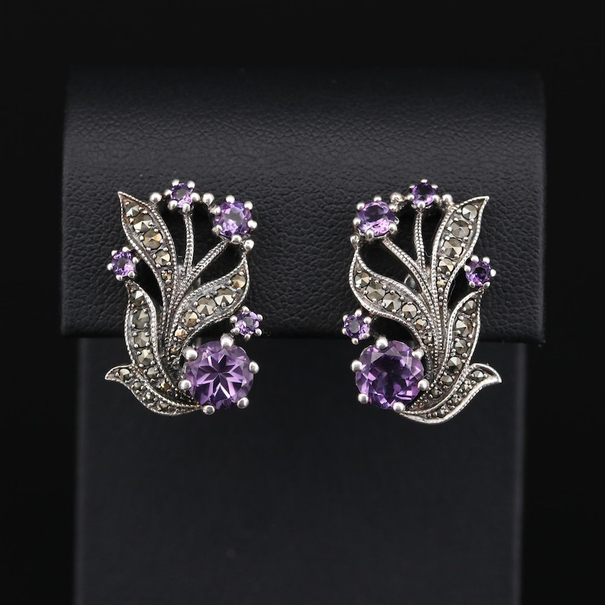 Sterling Silver Amethyst and Marcasite Floral Earrings