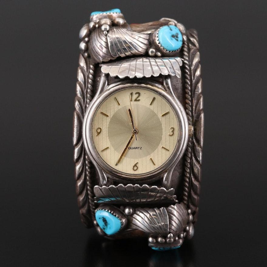 Quartz Wristwatch With Navajo Sterling Silver Cuff Bracelet