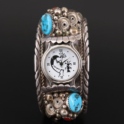 Quartz Wristwatch With Navajo Sterling Silver Cuff Bracelet