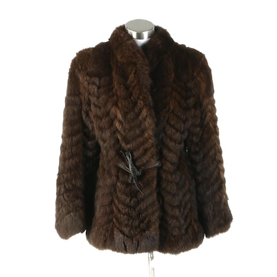 Australian Possum Fur Chevron Patterned Jacket From The Popular of El Paso