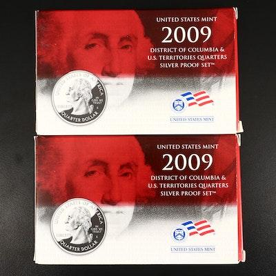 Two 2009 U.S. Mint U.S. Territories Quarters Silver Proof Sets
