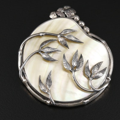 Sterling Silver Mother Of Pearl Pendant with Bamboo Motif
