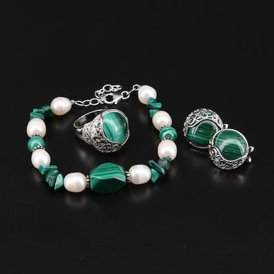 Sterling Silver Malachite and Cultured Pearl Bracelet, Earrings and Ring Set