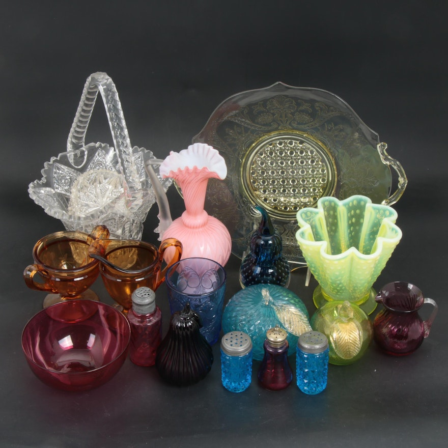 Blown Glass Fruits, Vaseline Glass and Other Glass Table Accessories
