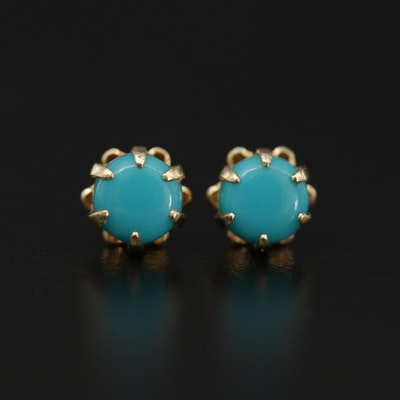 14K Yellow Gold Turquoise Buttercup Stud Earrings