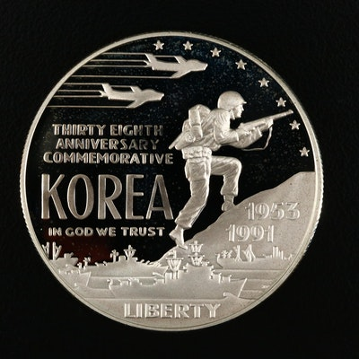 1991-P Korean War Memorial Commemorative Proof Silver Dollar