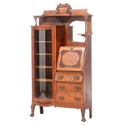 Late Victorian Oak Side-by-Side Secretary Desk and Bookcase, circa 1900