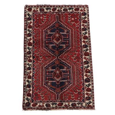 3'5 x 5'6 Hand-Knotted Persian Shiraz Wool Rug