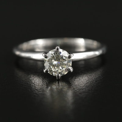 14K White Gold 0.55 CT Diamond Solitaire Ring