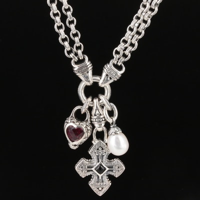 Scott Kay Sterling Cultured Pearl, Garnet, and Black Onyx Charm Necklace