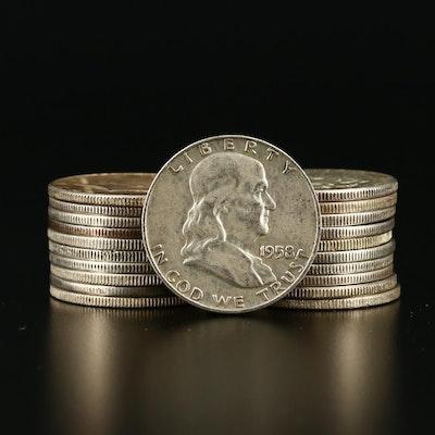 Twenty-One Vintage U.S. Silver Half Dollars
