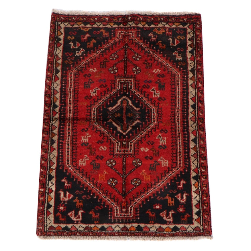 3'5 x 5'1 Hand-Knotted Persian Qashqai Wool Rug