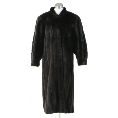 Lanvin Black Mink Fur Coat with Banded Cuffs from Evans Fur Salon at Robinson's