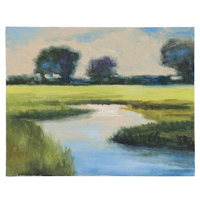 Sulmaz H. Radvand Impressionist Style Landscape Acrylic Painting