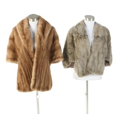 Tawny Mink Fur and Gray Squirrel Fur Stoles, Vintage