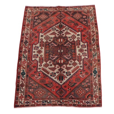 5'7 x 7'9 Hand-Knotted Wool Persian Qashqai Rug