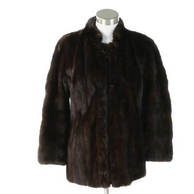 Dark Brown Mink Fur Zip Jacket, 1960s Vintage