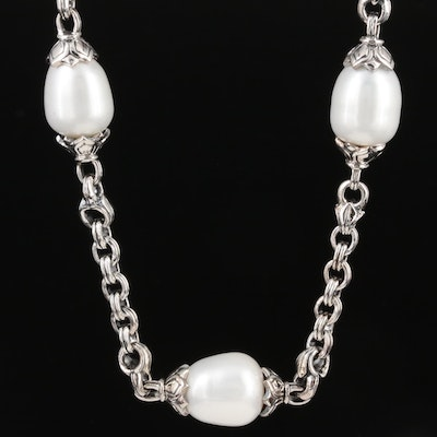 Scott Kay Sterling Silver Rolo Chain Necklace with Pearl Stations
