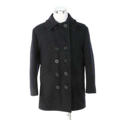 Unisex Schott NYC U.S. 740N Classic Melton Wool Navy Blue Pea Coat