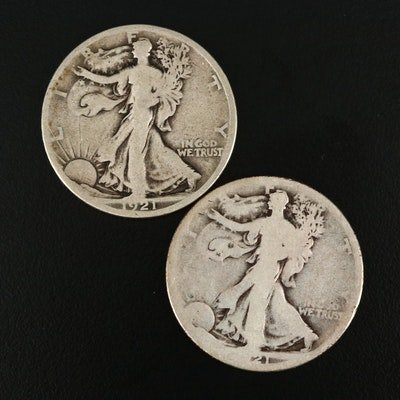 Key Date Low Mintage 1921-D and 1921-S Walking Liberty Silver Half Dollars