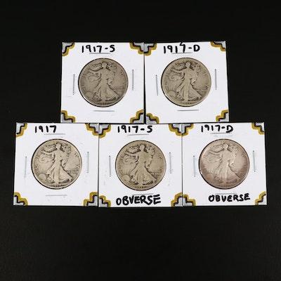 Five Different Varieties of 1917 Walking Liberty Silver Half Dollars