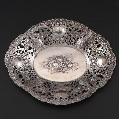 Israeli Floral Repoussé 800 Silver Bonbon Bowl, Mid-Century