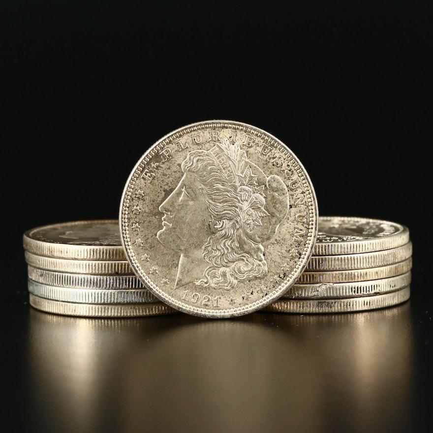 Eleven 1921 Morgan Silver Dollars