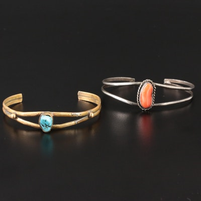 Sterling Silver Turquoise and Coral Cuff Bracelets